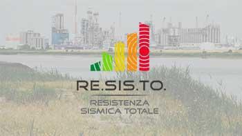 logo RESISTO su sfondo paesaggio industriale
